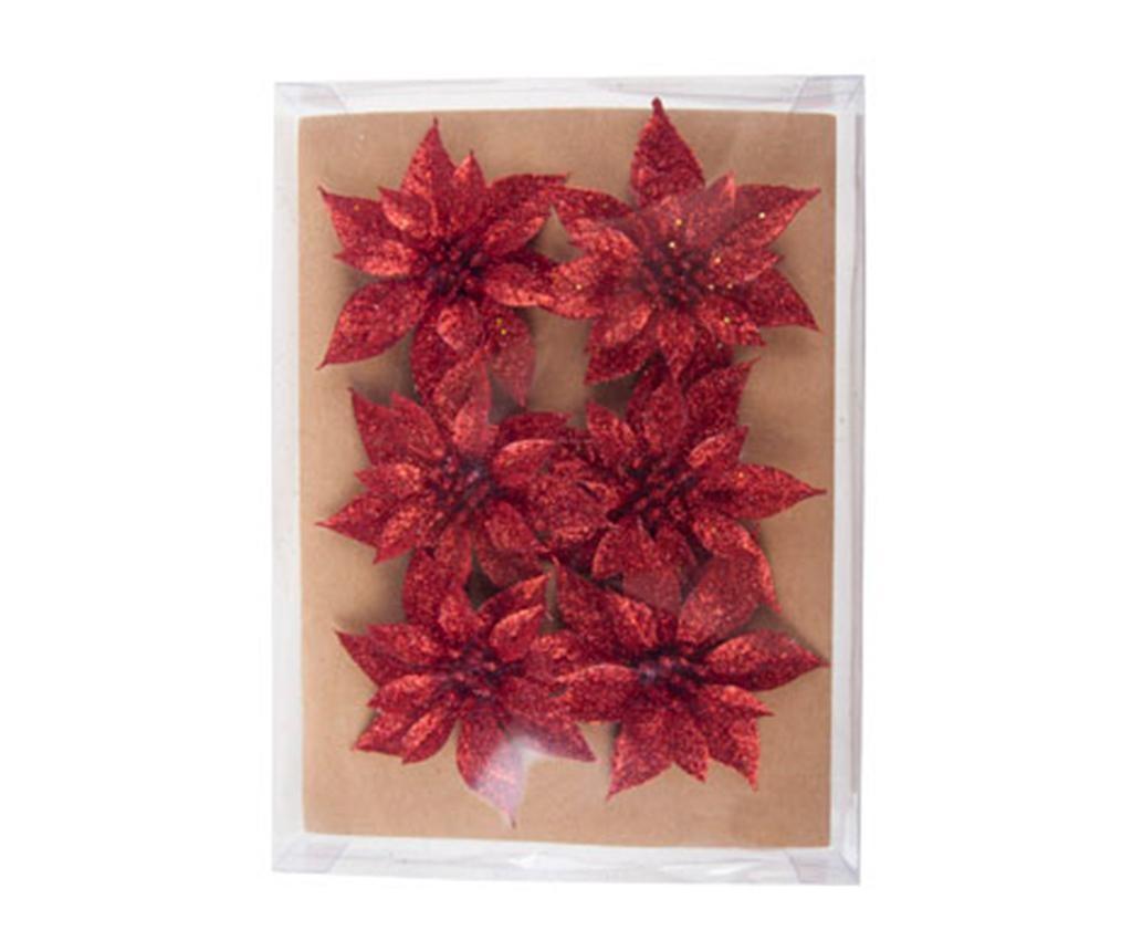 Sada 6 dekorací Poinsettia Rouge Mini