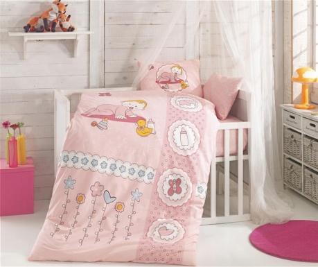 Lenjerie de patut Ranforce Happy Baby Pink