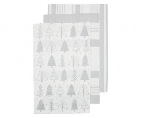 Sada 3 kuchynských utierok Sparkle Tree Silver 45x70 cm