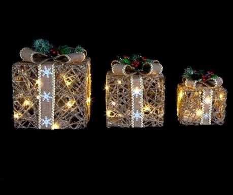 Комплект 3 светещи декорации Christmas Presents