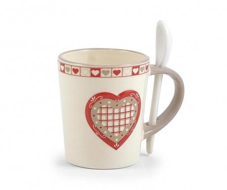 Чаша с лъжичка Hearts 250 мл