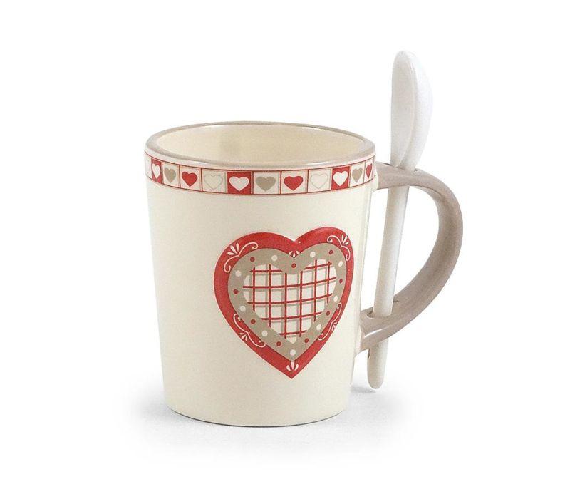 Cana cu lingurita Hearts 250 ml