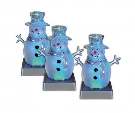 Set 3 svjetleća ukrasa Smiling Snowmen