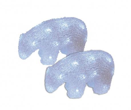 Set 2 svjetleća ukrasa Polar Bears