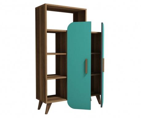 Knihovna Form  Walnut Turquoise