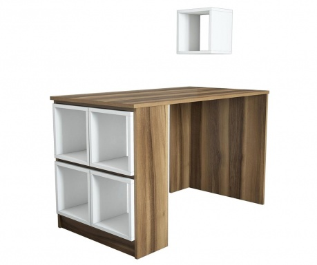 Sada psací stůl a 5 modulárních polic Box  Walnut White