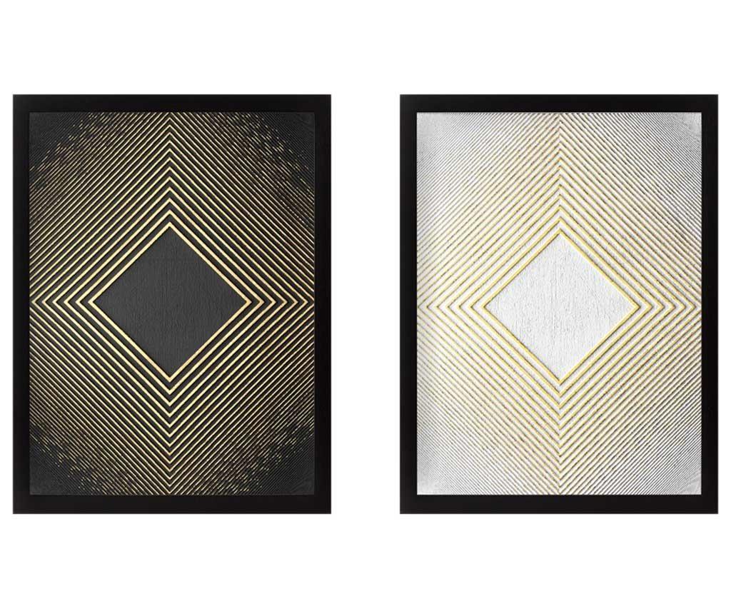 Set 2 slik Rhombus Golden 34x44 cm