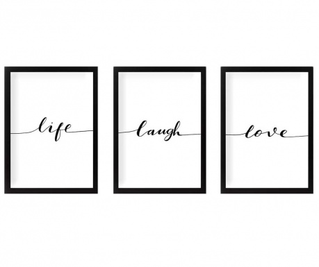Set 3 tablouri Life Laugh Love 24x29 cm