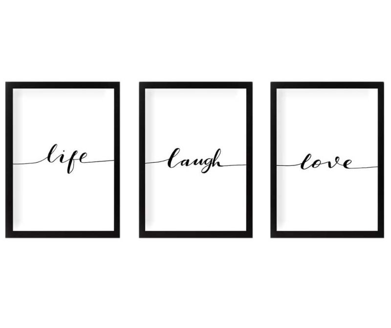 Set 3 slike Life Laugh Love 24x29 cm