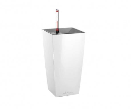 Комплект саксия с напоителна система и поставка Cubi White