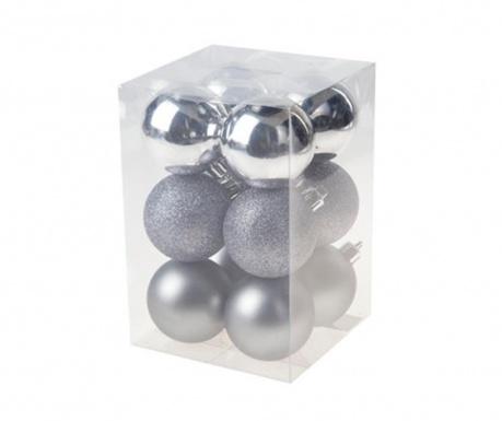 Set 12 globuri decorative Hope Silver
