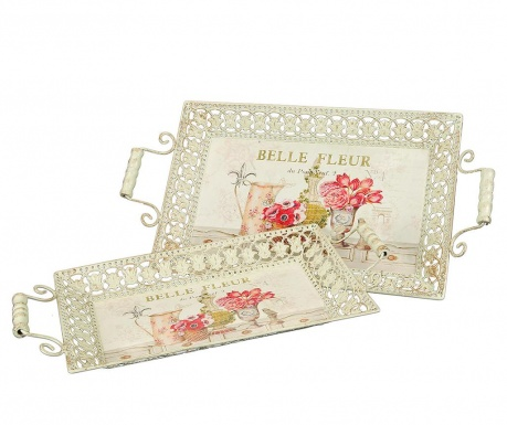 Sada 2 servírovacích podnosov Belle Fleur