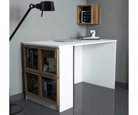 Set birou si 5 rafturi modulare Devona White and Walnut Effect
