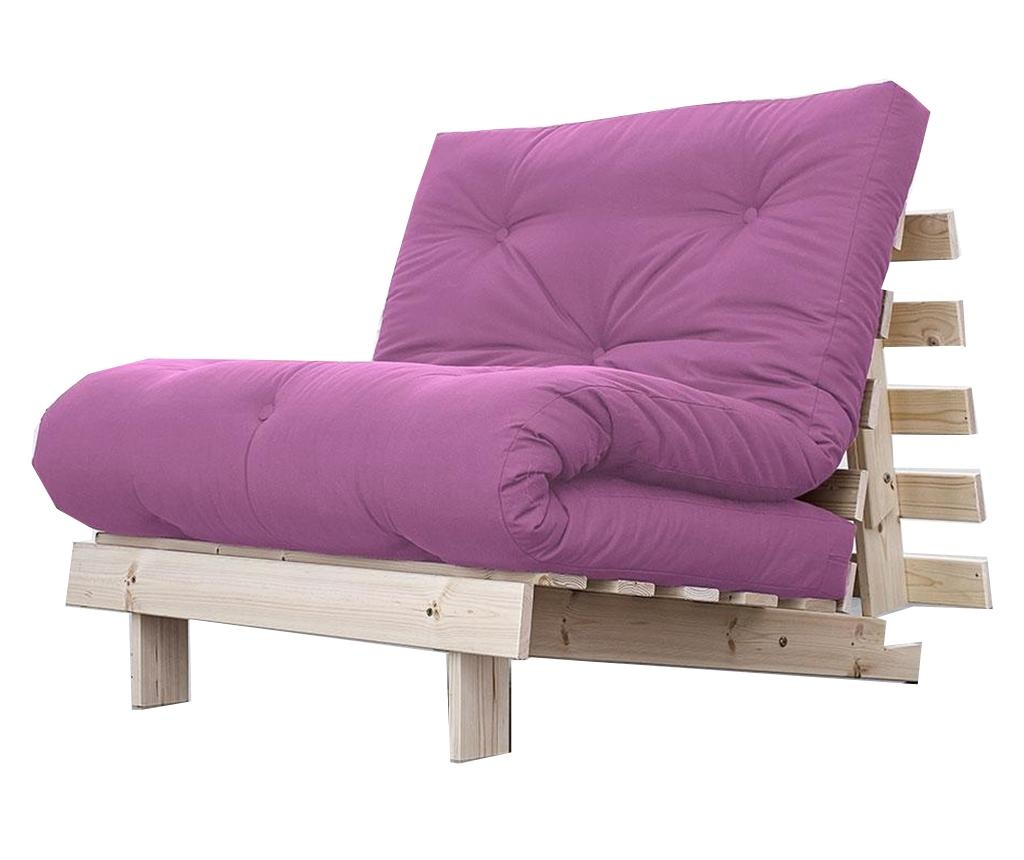Sofa extensibila Roots Natural and Taffy Pink 90x200 cm
