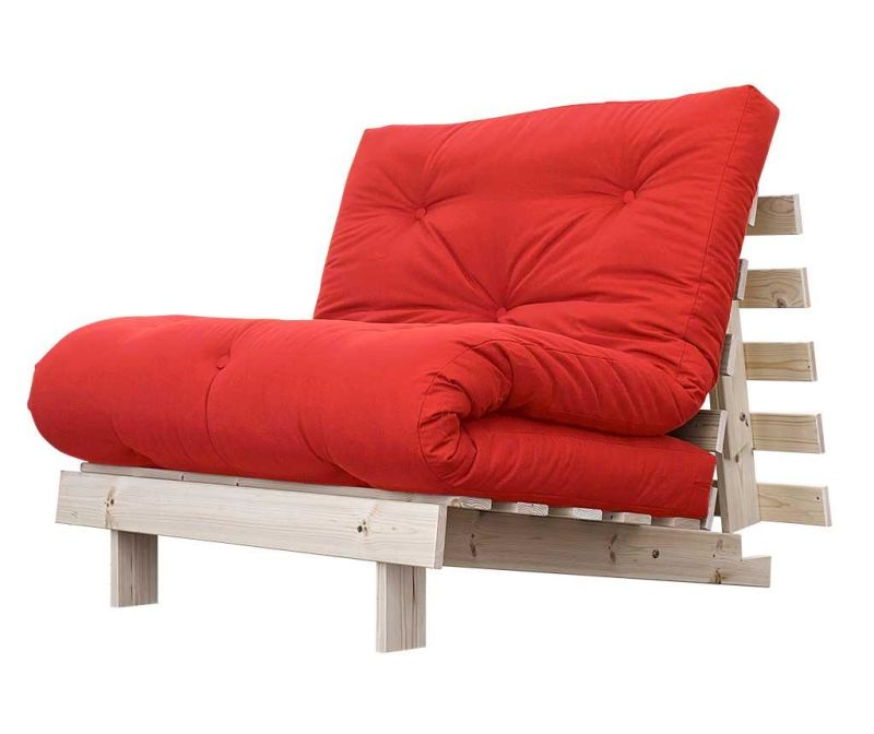 Sofa extensibila Roots Natural and Red 90x200 cm