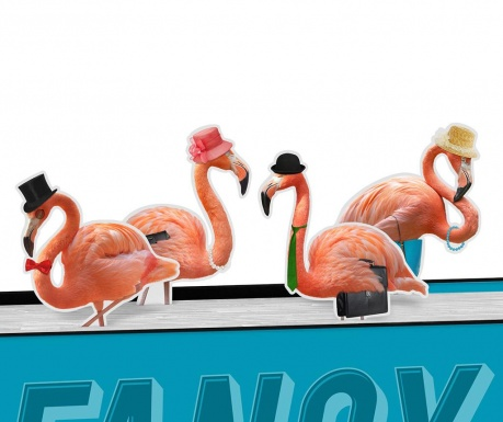 Set 4 marcatoare de pagina Fancy Flamingos