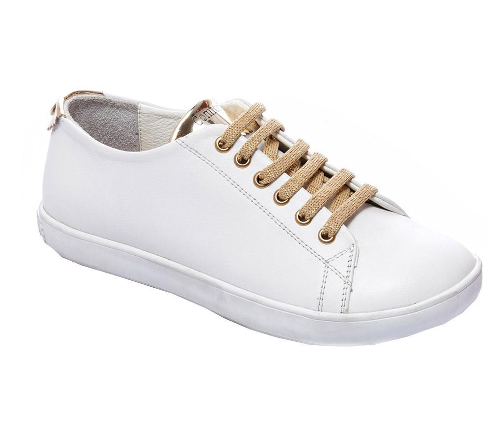 Pantofi sport dama Klara White Gold 37 - Comfortfüße, Alb,Galben & Auriu