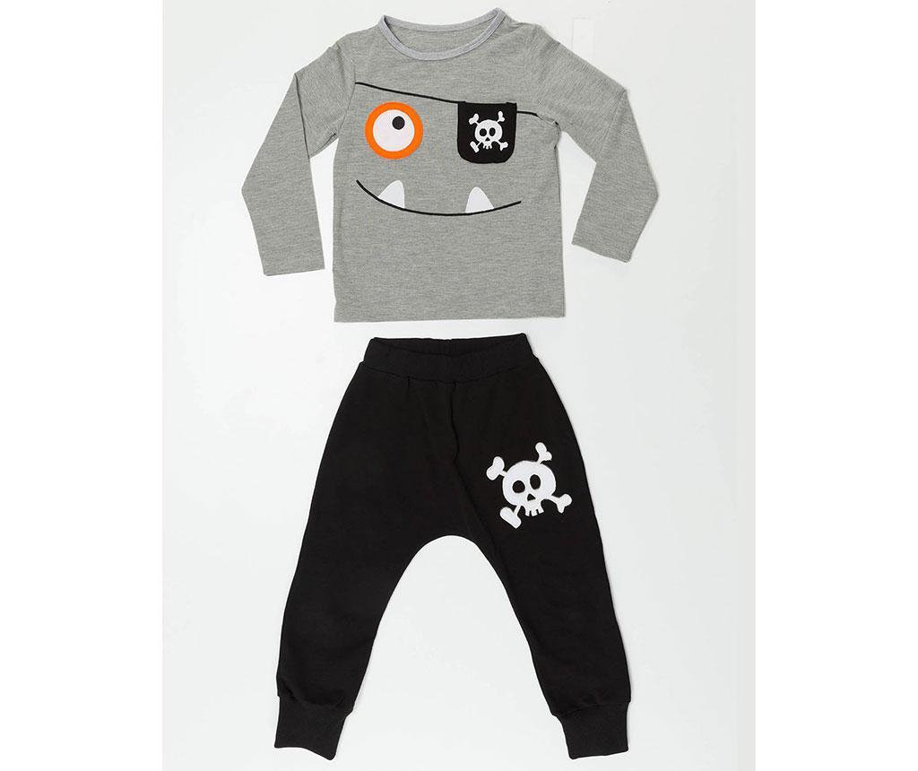Set bluza si pantaloni pentru copii Baggy Happy Pirate 8 ani - Denokids, Gri & Argintiu,Negru