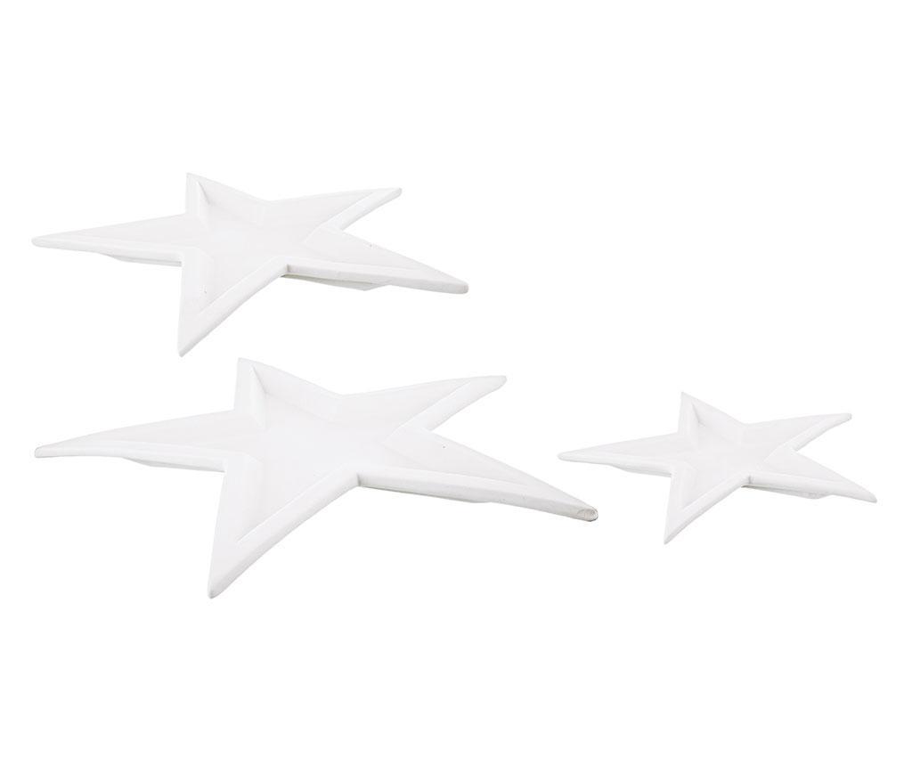 Set 3 platouri decorative Twins Star White - Bizzotto, Alb