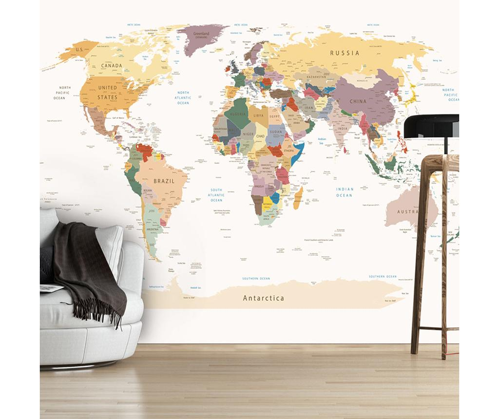 Tapet World Map 210x300 Cm - Artgeist