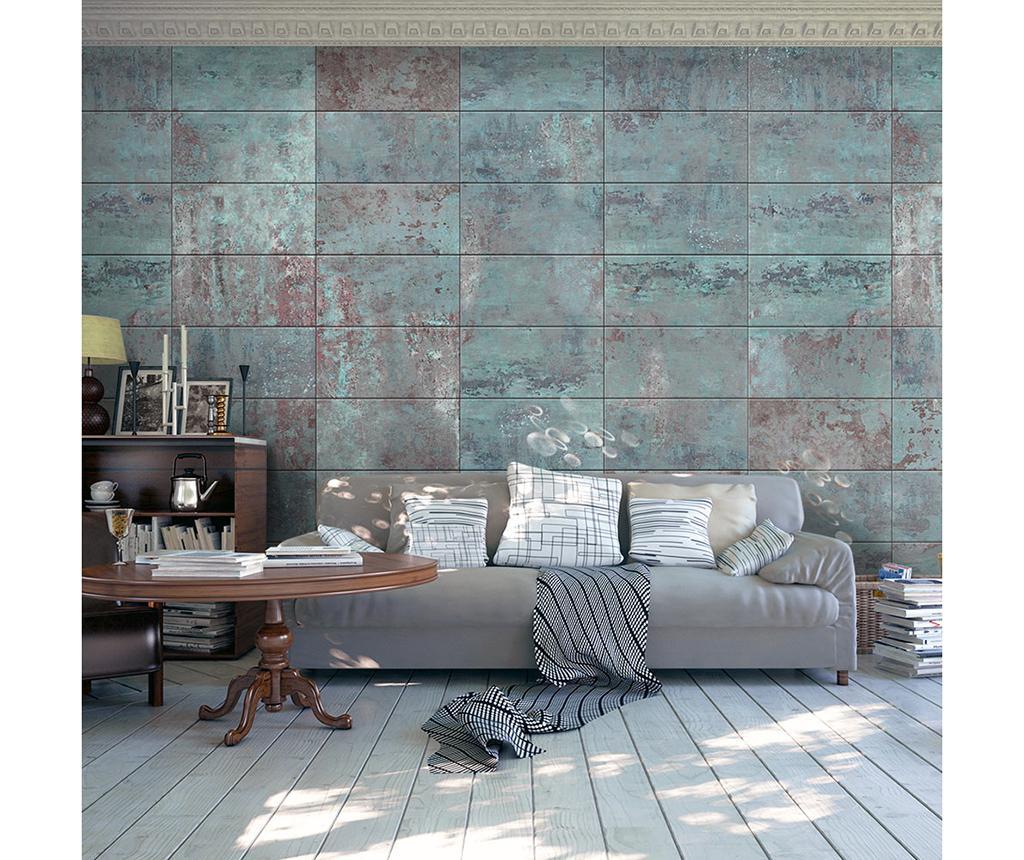 Tapet Turquoise Concrete 50x1000 cm - Artgeist, Albastru,Gri & Argintiu