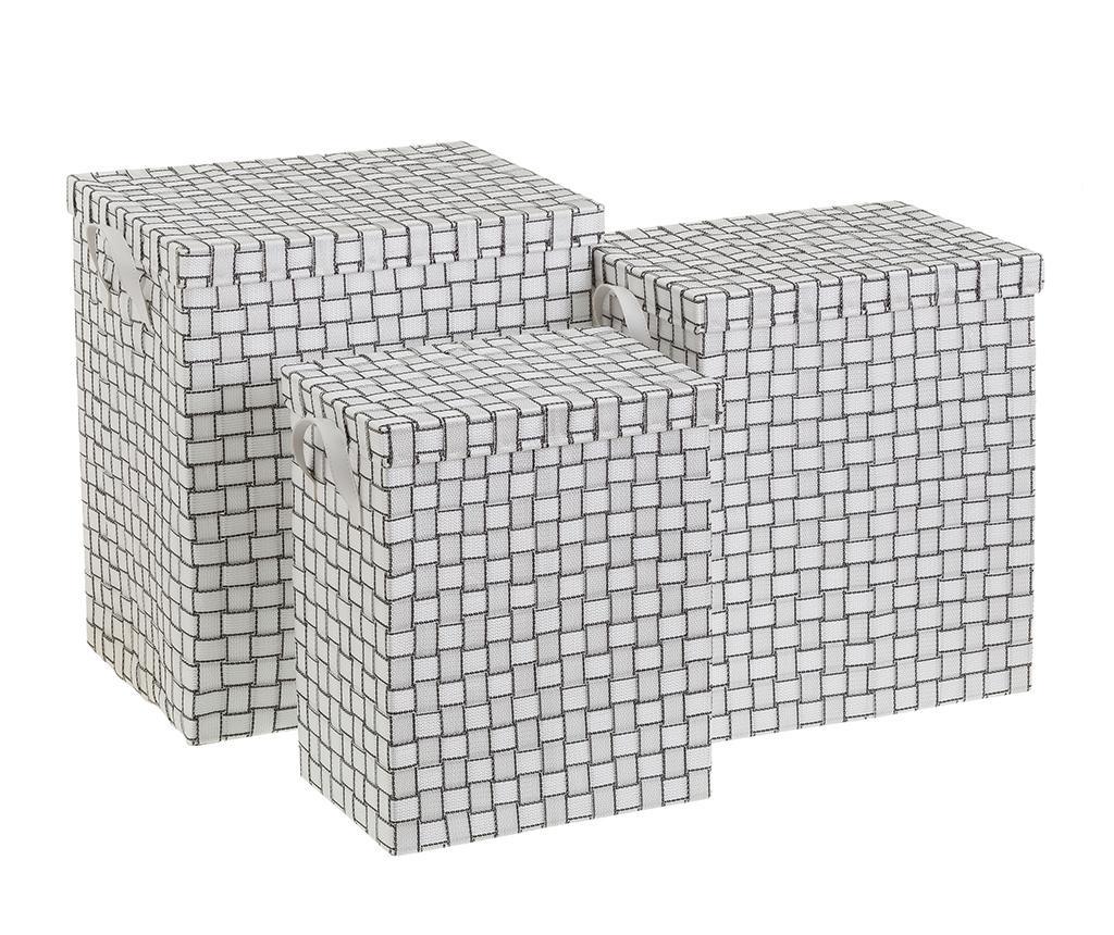 Set 3 košev za perilo s pokrovom Squares