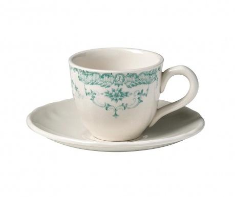 Сервиз 6 чашки и 6 чинийки за кафе Rose Green