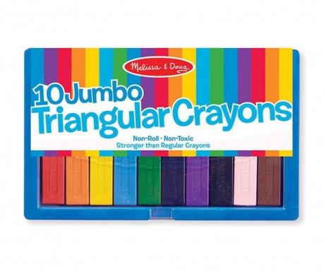 Set 10 creioane Triangles Colours