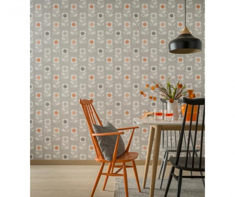 Tapeta Retro Floral Grey and Orange 53x1005 cm