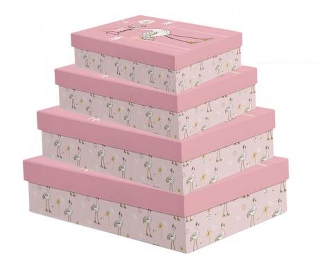 Zestaw 4 pudełek z pokrywką Flamingo Pink Dreams