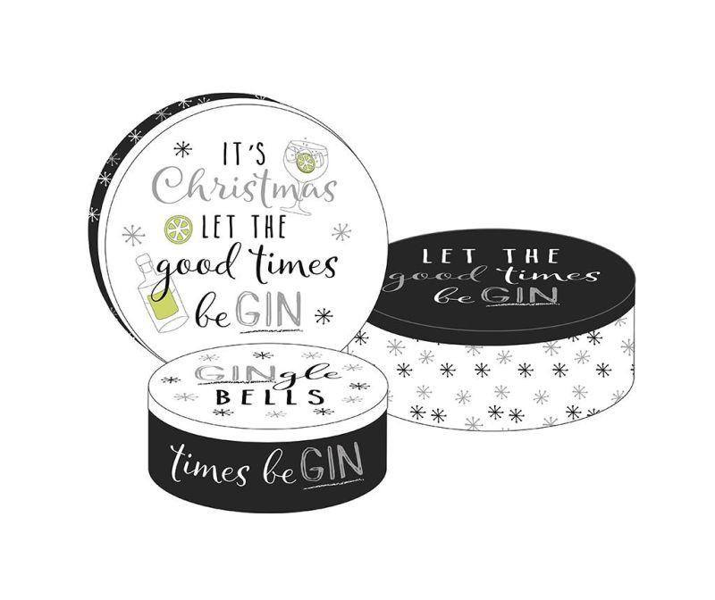 Set 3 škatel s pokrovom Good Time Be Gin