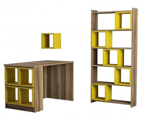 Set radni stol, regal za knjige i 10 modularnih polica Byrd Yellow