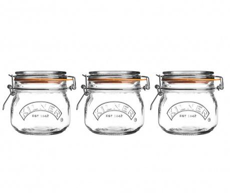 Set 3 steklenk s tesnilnim pokrovom Kilner Clip 500 ml