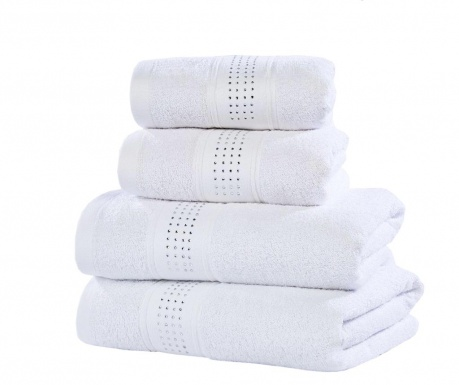 Sada 4 ručníků Rhinestone Diamante White