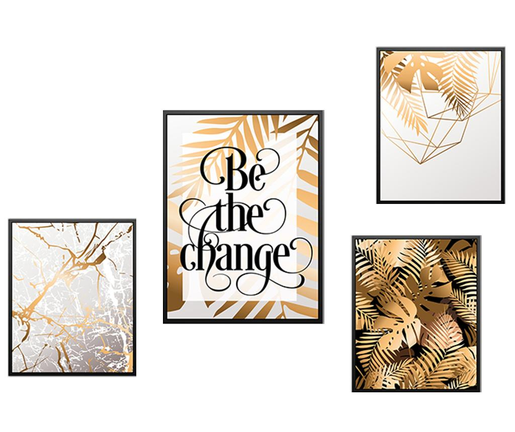 Set 4 tablouri Be the Change - Tablo Center, Multicolor