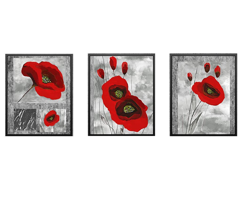 Set 3 tablouri Poppy Flowers 24x29 cm - Tablo Center, Multicolor