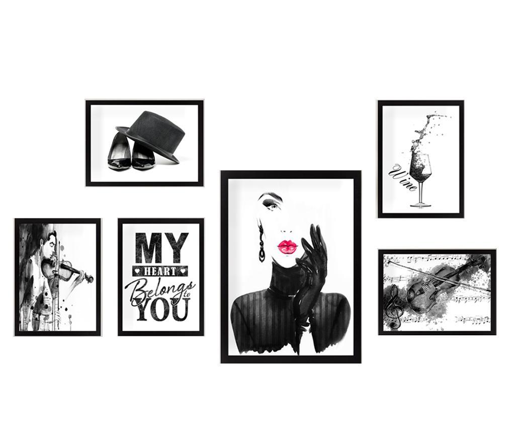Set 6 tablouri My Heart - Tablo Center, Multicolor