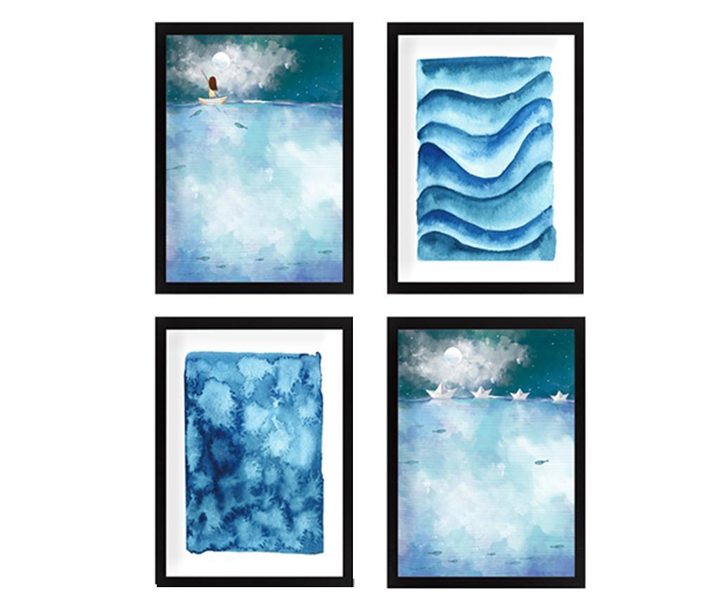 Set 4 tablouri Vast Sea 24x29 cm - Tablo Center, Albastru