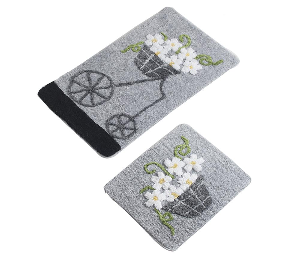 Poza Set 2 covorase de baie Bike Flowers Grey - Alessia, Gri & Argintiu