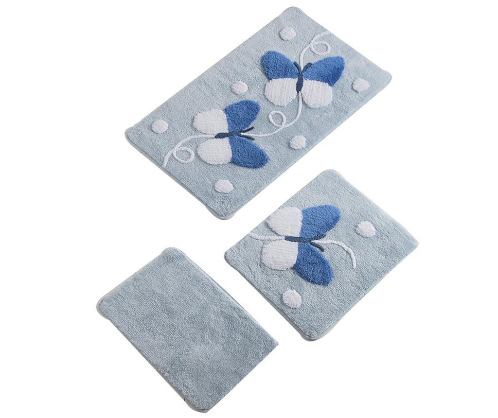Set 3 covorase de baie Butterfly Blue - Alessia, Albastru