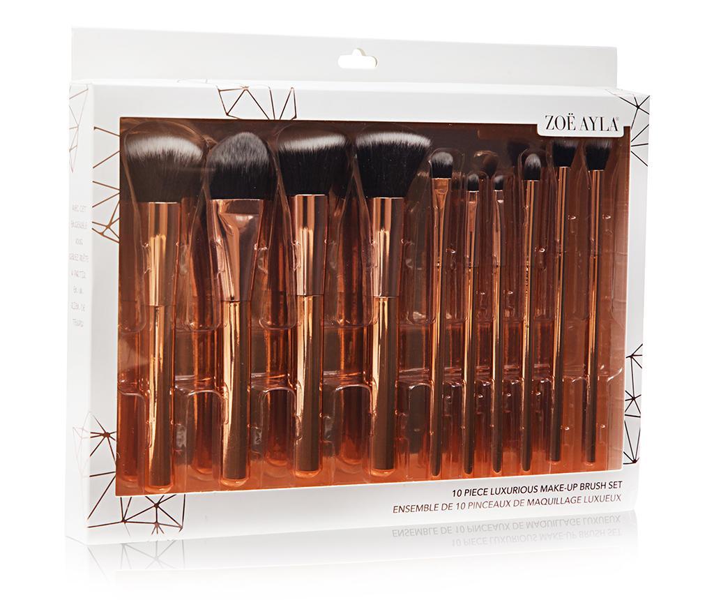 Set 10 pensule pentru machiaj Luxurious Rosegold - Zoe Ayla, Multicolor
