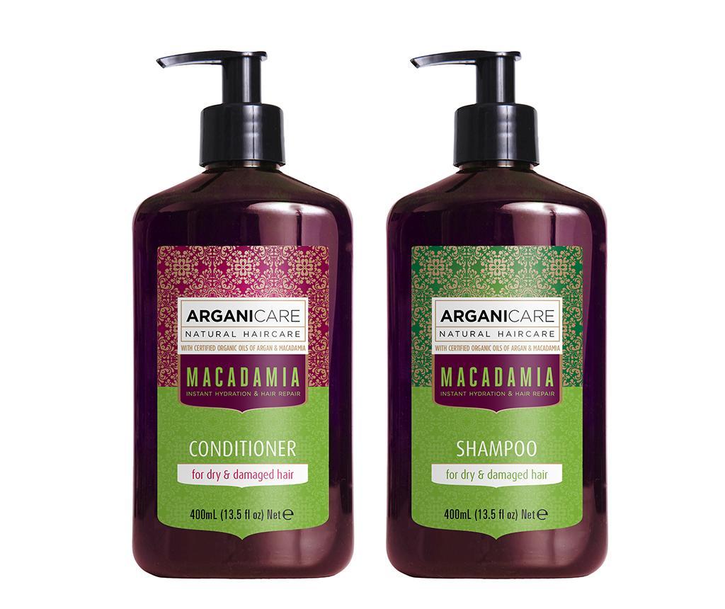Set sampon si balsam pentru par uscat si deteriorat Macadamia - Arganicare