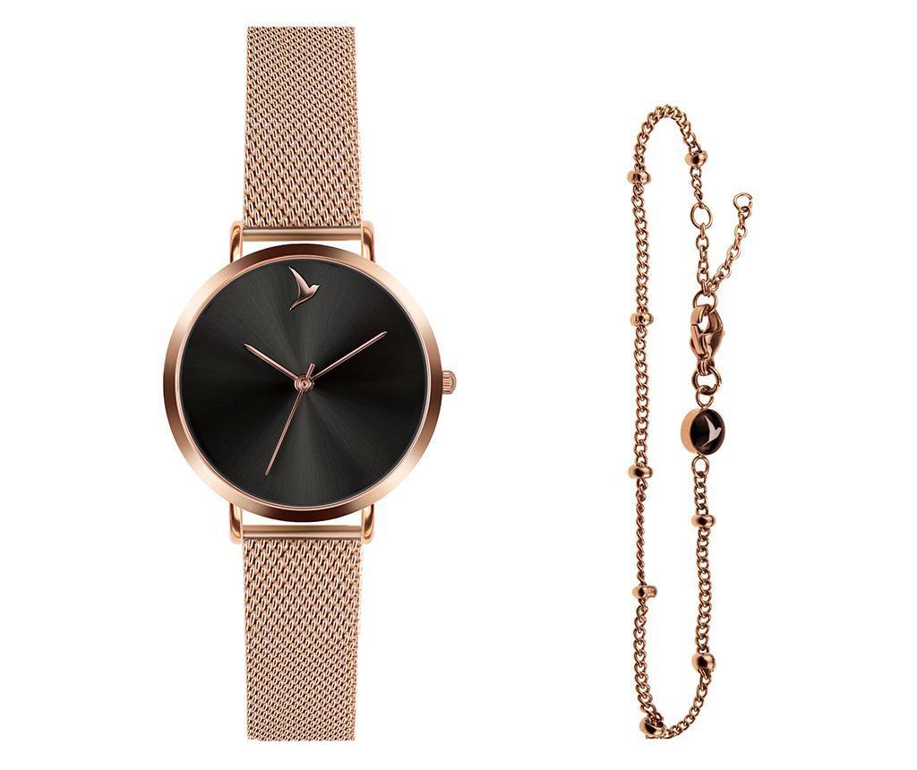 Set ceas de mana dama si bratara Emily Westwood Dark Glam Rose - Emily Westwood, Roz