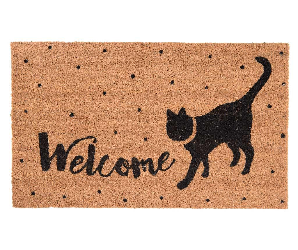 Covoras de intrare Welcoming Cat 45x75 cm - Clayre & Eef, Crem,Negru