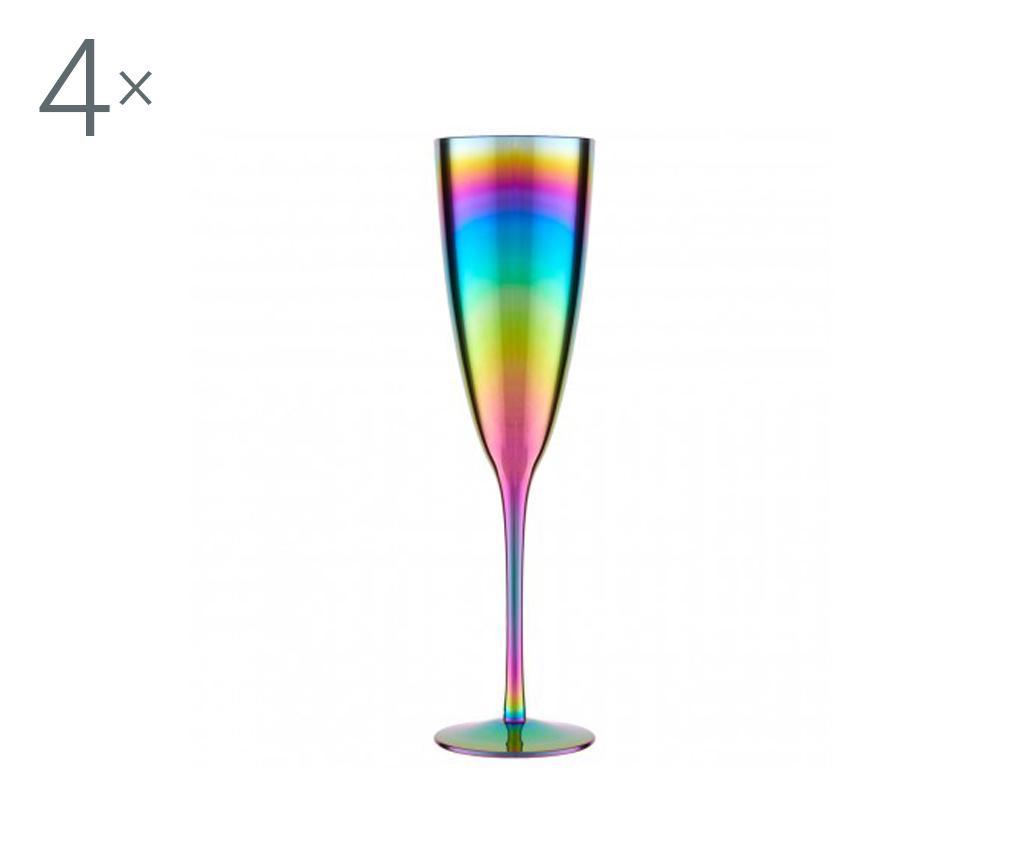 Set 4 pahare pentru sampanie Aurora Rainbow 290 ml - Premier, Multicolor
