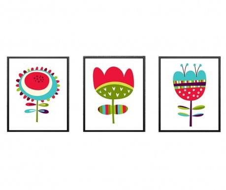 Σετ 3 πίνακες Dazy Flowers 24x29 cm