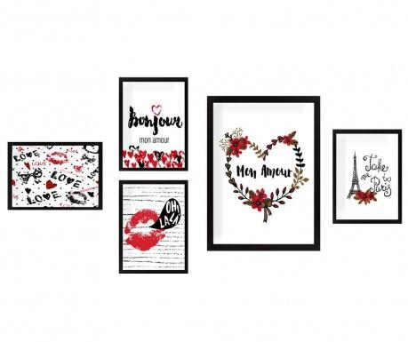 Комплект 5 картини Mon Amour