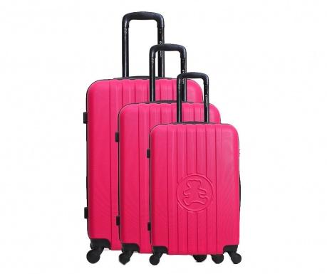 Σετ 3 βαλίτσες τρόλεϊ Lulu Bear Fuchsia