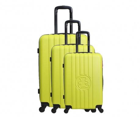 Sada 3 kolieskových kufrov Lulu Bear Green
