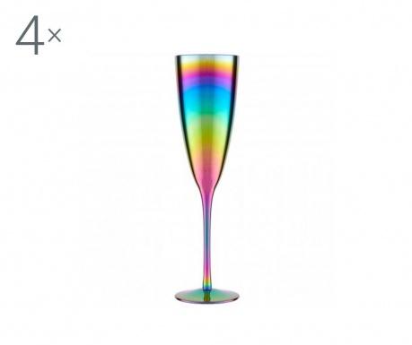 Set 4 kozarcev za šampanjec Aurora Rainbow 290 ml